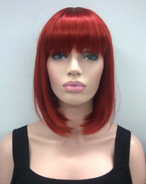 Wholesale Red Straight Wig - Hivision 2017 new fashion health Super Cute fashion cute BOB Dark red short straight women's full wig