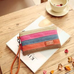 Wholesale Color Block Purses - Fantasy sky fashion canvas patchwork rainbow stripe small vintage cute women organizer wallet color block casual classic purse