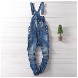 Wholesale Men S Button Suspenders - Wholesale- Men Distressed Denim Overalls Mens Denim Joggers With Suspenders New 2017 Scratched Design Garment Washed Male Bib Jeans
