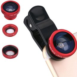 Wholesale Clip Eye Glasses - 3 in 1 Universal Clip Fish Eye Lens Wide Angle Macro Mobile Phone Camera Glass Lens Fisheye For Phone Pad With Retailpackage