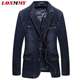 Wholesale Jeans Suits For Men - Wholesale- LONMMY Jeans blazers men jacket Suits for men Casual Cowboy jaqueta masculino Denim blazer men Cotton slim fit Fashion L-3XL