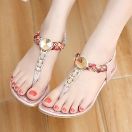 Wholesale New Wedges Sandals Design - Woman sandals 2017 new design figured cloth weaving hot style casual flip flops lady rhinestone sandals YonDream-233