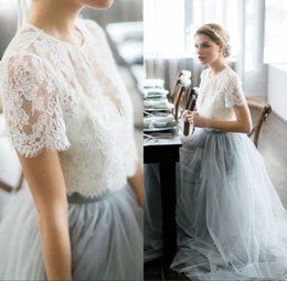 Wholesale Wedding Dress Colored Beading - Vintage 2017 Country Wedding Dresses 2y Beach Bohemian Lace Tulle Bridal Gowns Sheer Neck Short Sleeves Colored Wedding Guest Party Gowns