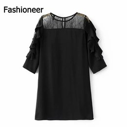 Wholesale Women S Transparent Mesh Dress - Fashioneer Women Black Flower Embroidery Ruffles Mesh Lace Dress With Lining See Through Transparent Casual Brand Dresses Vestidos