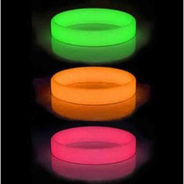 Wholesale Glow Dark Printing - 100pcs lot glow in the dark silicone bracelets wristband without logo test printed,luminous bangles promotion gift FREE SHIPPING