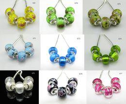 Wholesale Threads Beads Bracelet Handmade - 925 pure silver stamped thread core murano glass beads mix lampwork glass beads big hole Murano Glass Charm Bead For Pandora Bracelets