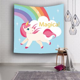Wholesale Hand Digital - Hot high-quality soft and comfortable unicorn series digital printing tapestry wall carpet beach towel a variety of uses blanket Christmas p