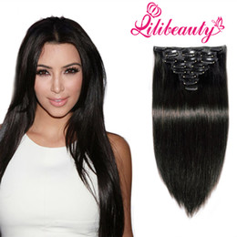 Wholesale Clip Hair Extensions Straight - lilibeauty 8A Clip in Human Hair Extensions Straight 16-22inch 7Piece Remy Human Hair Clip in Extension Clip Ins Human