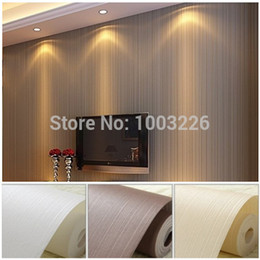 Wholesale Paper White Plant - Top Quality Fabric Mural wallpaper modern striped flock wall paper papel de parede tapete bedroom white,beige,coffee 53x1000cm