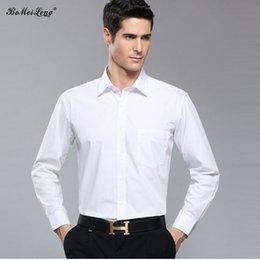 Wholesale Collared Long Sleeved Wedding Dresses - Wholesale- High Quality Men Shirt Long Sleeved Solid Color Business Men Wedding Dress Shirts Men Brand Camisa Masculina Costume Homme