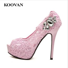 Wholesale Rhinestone Covered Pumps - Koovan Fashion Women Sandals 2017 New Summer Lace Rhinestones Fish Mouth Ladies Hollowing Pumps 12 Cm High Heel Big Size 35-40 W082