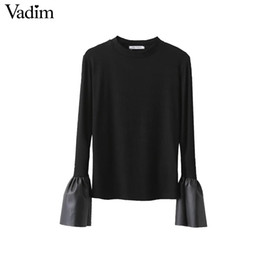 Wholesale Women Long Leather Sleeve Shirts - Wholesale- Women PU leather flare sleeve T shirt long sleeve black knitted stretchy tees ladies fashion casual tops camisetas mujer LT1401