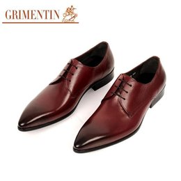 Wholesale Italian Slingbacks - 2017 Brand Italian Fashion Black Brown Cowhide Genuine Leather Dress Men Shoes For Wedding
