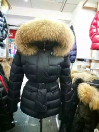 Wholesale Ribbed Belts - Women Long Down Jackets With Belt slim Down Coats Thickening Female Clothes 100% Big Real Raccoon Fur Collar Hood Parkas