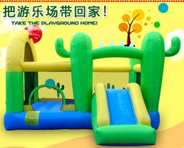 Wholesale Play Slides Kids - Doctor Dolphin Cactus Inflatable Trampoline Castle Bed For Kids & Hmoe-use Bounce in Small Size