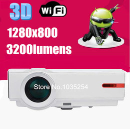 Discount android led lcd - Wholesale-Hot sale! 5500lumens Android 4.4.2 home theater led projector full hd 1280*800 wifi lcd 3D TV video 720p1080p projector beamer