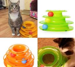 Wholesale Toy Plastic Track - Cat Pet Toy Intelligence Amusement Rides Shelf Three Levels Tower Tracks Disc
