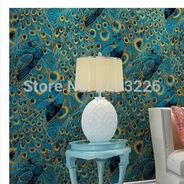 Wholesale Bedroom Border - Wholesale-Modern Peacock Wallpaper Paper Wall Paper 3D Roll Gold Bordered for Living Room Bedroom TV Backdrop Blue .papel de parede Sala.p