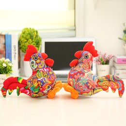 stuff toy chicken Promo Codes - Wholesale- 25cm Kids Simulation Cock Cloth Art Zodiac Doll Plush Chicken Toy Present For Kids Stuffed Plush Chook Model Best Gifts WW16