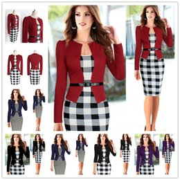 Wholesale Womens Office Jacket - 2017 New Womens Autumn Retro Faux Jacket One-Piece Polka Dot Contrast Patchwork Wear To Work Office Business Sheath Dress