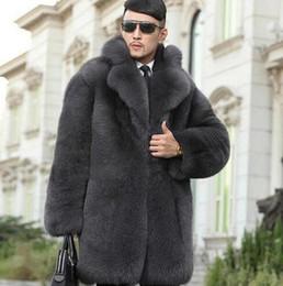 Wholesale Mens Grey Leather Jacket - Grey warm faux imitation mink rabbit fur coat mens leather jacket men coats villus suit collar winter loose thermal outerwear