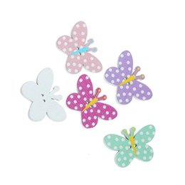Wholesale Wooden Shaped Beads - Kimter Cute Butterfly Shape Wooden Sewing Button With 2 Holes 25x17mm For Headbands Hair String Beads Craft Projects Pack Of 100pcs I523L