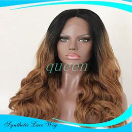 Wholesale Premium Lace Front - wholesale Premium blonde ombre wig black root long natural body wave wigs Brazilian Hair synthetic lace front wig heat resistant