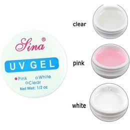 Wholesale Clear Color Uv Builder Gel - Wholesale-15ml Hight Quality Nail Art Primer Base UV Gel Top Coat Builder Tips Decor 3 Color Clear White Pink
