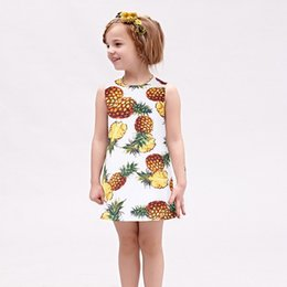 Wholesale European Clothing Brands - W.L.MONSOON Princess Dress 2017 Brand Summer Girls Party Dress Children Pineapple Printed Dresses Kids Clothes Vestido Princesa 3-12Y