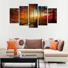 5 cuadros hermoso lienzo de arce otoñal paisaje arte de la pared pinturas de arte con marco de madera para la decoración casera desde fabricantes