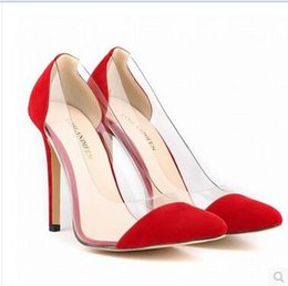 Wholesale Transparent Trends - 2017 New arrived top quality trend classic Sexy elegant ladies Transparent high heels ladies Genuine Leather plus size