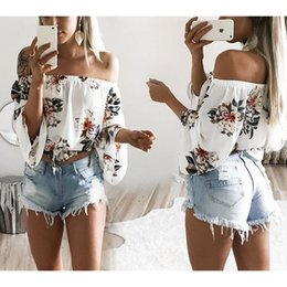 Wholesale Off Shoulder T Shirts - 2017 New Womens Long Sleeve Off Shoulder Flower Printed T-Shirt Crop ladies Tops Blouse Size S-XL