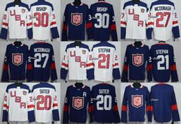 Wholesale Red Bishops - 2016 World Cup North America Navy White 30 Bishop 27 Mcdonagh 21 Stepan 20 Suter Blank Male Ice Hockey Jerseys Size M~XXXL Free Shipping