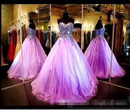 Wholesale Cheap Light Ups - 2017 Cheap Light Purple Quinceanera Dresses Bling Real Image Sweetheart Beaded Crystal Ball Gown Prom Dresses Long Lace Up Evening Dresses