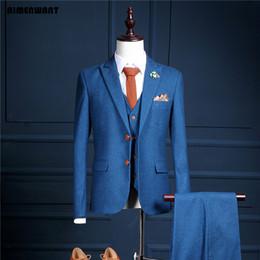 Wholesale Host Studios - Wholesale- AIMENWANT Customize Top Quality Men's Suit 2017 Single Breasted Suits+Vest+Pants Set Studio Clothes Stage Host Work Blazer