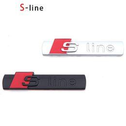 Wholesale Audi Tt Front Emblem - 3D S Line Sline Car Front Grille Emblem Badge Stickers Accessories Styling For Audi A1 A3 A4 B6 B8 B5 B7 A5 A6 C5 C6 A7 TT