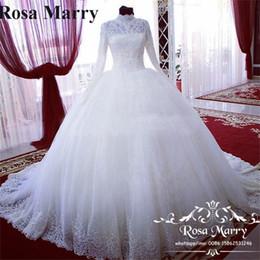 vestidos brancos pretos da recepção de casamento Desconto Vitoriano islâmico vestido de baile vestidos de casamento do laço 2020 de alta neck mangas compridas rendas pérolas turcas árabes africanos Vestido De Novia