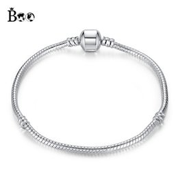Wholesale Numbers For Children - Silver Plated Bracelets Snake Chain Fit Luxury Brand Charm Beads for pandora Bangle Logo Bracelet Women Children Gift