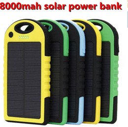 Wholesale Solar Power Bank Ipad - 8000mAh dual usb solar power bank portable powerbank waterproof battery power charger solar panel for iPhone 7 6 plus iPad mobile phone