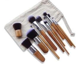 Wholesale Hair Brusher - 11pcs set Natural Bamboo Professional Makeup Brushes Set Foundation Blending Brush Tool Cosmetic Kits Makeup Set Brusher
