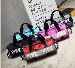 Wholesale Travel Bag For Shoulder - VS pink Women Gym Handbag Sports Bags Victoria Large Capacity Travel Duffle Striped Waterproof Beach Bag Secret Shoulder Bag for Girls