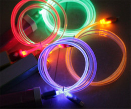 Wholesale Charging Cord Color - Micro USB V8 Visible Charger Cable LED Color Light Data Flashing 1M Charging Cords for Andriod Phone ap 5 phone