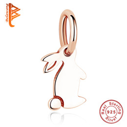 BELAWANG Fit Original Pandora PulseraNecklace DIY Fabricación de la joyería Vivid Rabbit Charm Beads Rose Gold Animal colgante de regalo para mujeres niños desde fabricantes