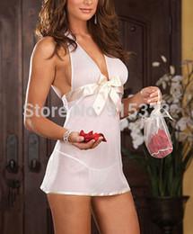 Wholesale Sexy Sleep Dress - Wholesale- Sexy Women's Dress Sheer lingerie Women Sleeping wear Slebabydoll + panty