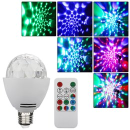 Wholesale Led Stage Remote Control - Wholesale- 3W E27 Disco Ball Lamp RGB Rotating LED Strobe Party Bulb Stage Lights for Family Birthday Festival Decoration,Remote Control