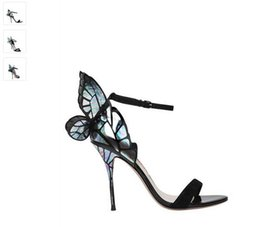 Wholesale Shoe Wedding Butterfly - Best selling sophia webster Magic color butterfly design sexy High heels peep toe sandals women pumps Free shipping