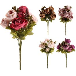 Wholesale Peony Charms - 5 Colors Pretty Charming 1 Bouquet Artificial Peony Flowers Festival Party Decorative Flower Wedding Christmas Home Decal Flower