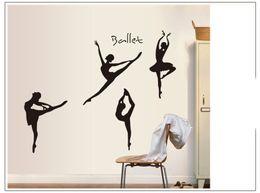 Wholesale Dancing Girl Wall Art - Black Dancing Ballet Girls Wall Sticker PVC Art Ballet Wall Decals Kids' Room Vinyl stickers