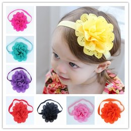 Wholesale Big Chiffon Flowers Baby Headband - 12 colors Baby Girls Stretch Lace Headbands Infant big Chiffon Flower hair band cute Hair Accessories 3.5 inches C1707