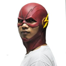 Wholesale Latex Head Masks - Wholesale-The Flash Mask DC Movie Cosplay Costume Prop Halloween Full Head Latex Party Masks